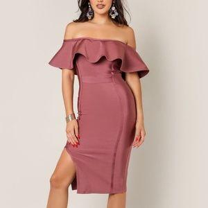 Wow Couture Off Shoulder Slit Rose Bandage Dress